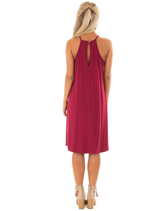 Berry Dress with Lace Front Detail back full body