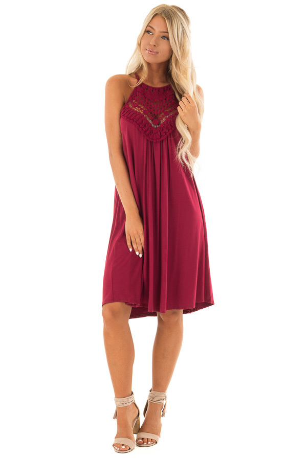 Berry Dress with Lace Front Detail front full body