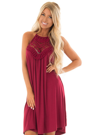 Berry Dress with Lace Front Detail front close up