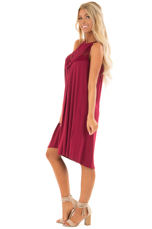 Berry Dress with Lace Front Detail side full body