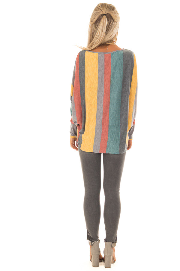 Multi Color Striped Boat Neck Top with Front Tie Detail back full body
