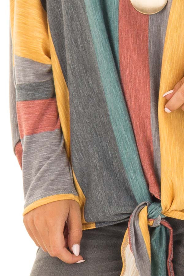 Multi Color Striped Boat Neck Top with Front Tie Detail detail