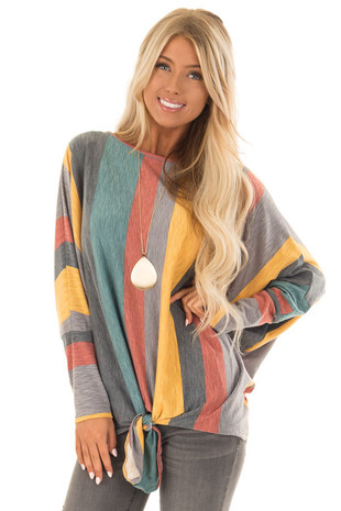 Multi Color Striped Boat Neck Top with Front Tie Detail front close up