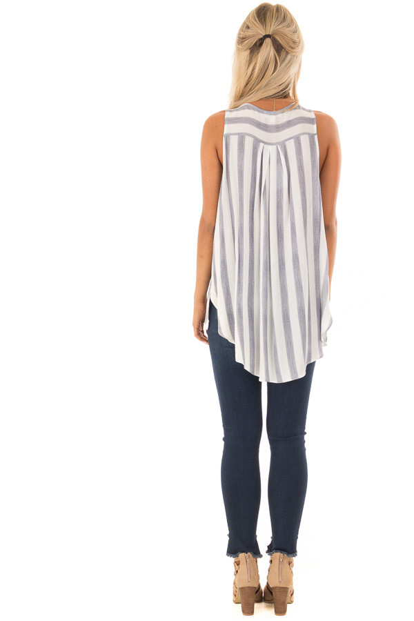 Navy and White Striped Hi Low Tank Top with Gathered Front back full body