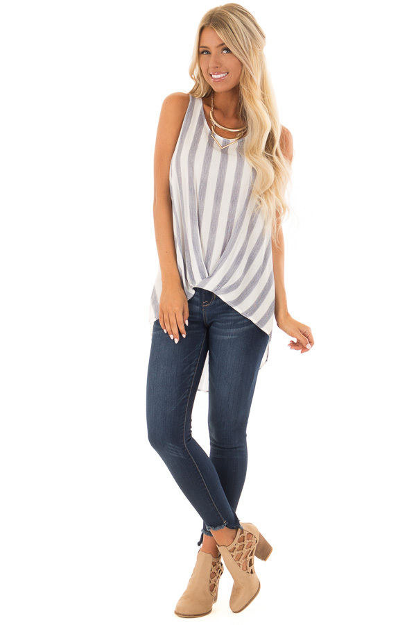 Navy and White Striped Hi Low Tank Top with Gathered Front front full body