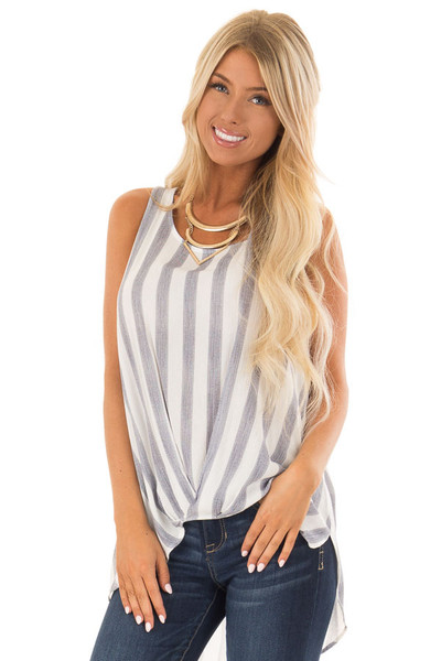 Navy and White Striped Hi Low Tank Top with Gathered Front front close up
