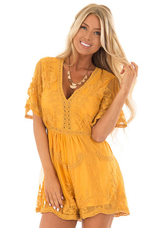Mustard V Neck Lace Romper with Zip Up Back front close up