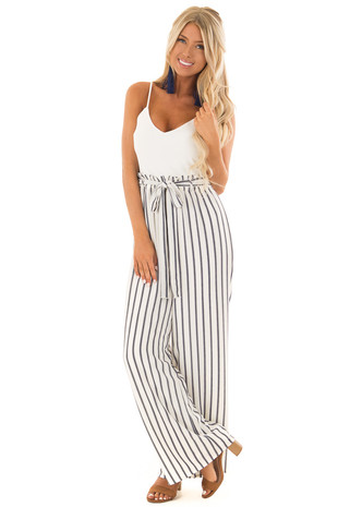 White and Navy Sleeveless Jumpsuit with Waist Tie Detail front full body