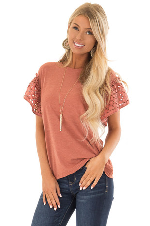 Rust Short Ruffle Sleeve Top with Eyelet Detail front close up