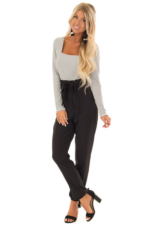Raven Black High Rise Slacks with Ruffle Detail front full body