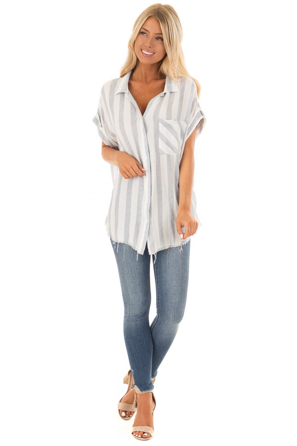 Faded Navy Striped Button Up Top with Frayed Hemline front full body