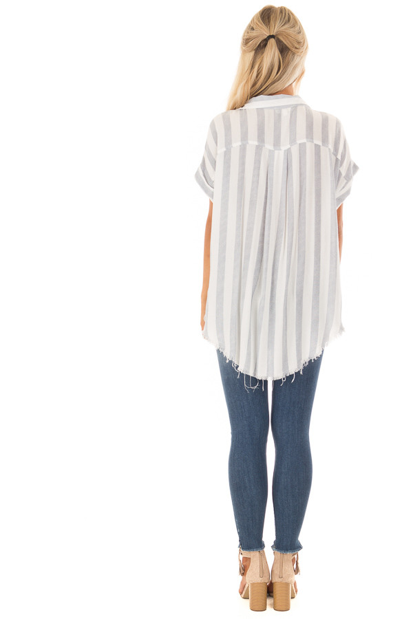Faded Navy Striped Button Up Top with Frayed Hemline back full body