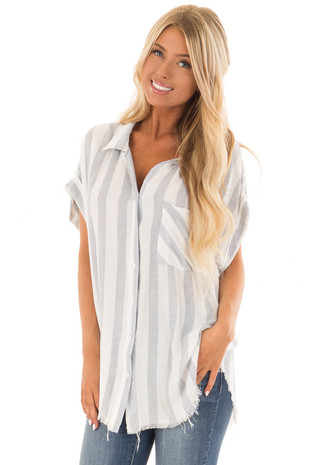 Faded Navy Striped Button Up Top with Frayed Hemline front close up