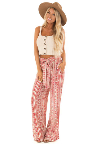 Rust Geometric Print Wide Leg pants with Tie front full body