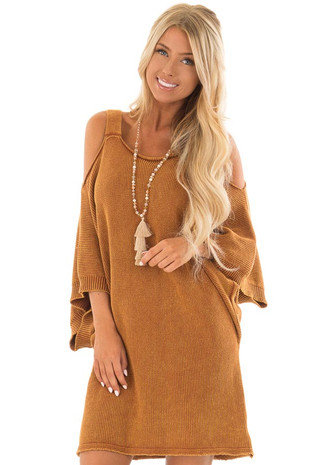Washed Camel Cold Shoulder 3/4 Sleeve Sweater front full body