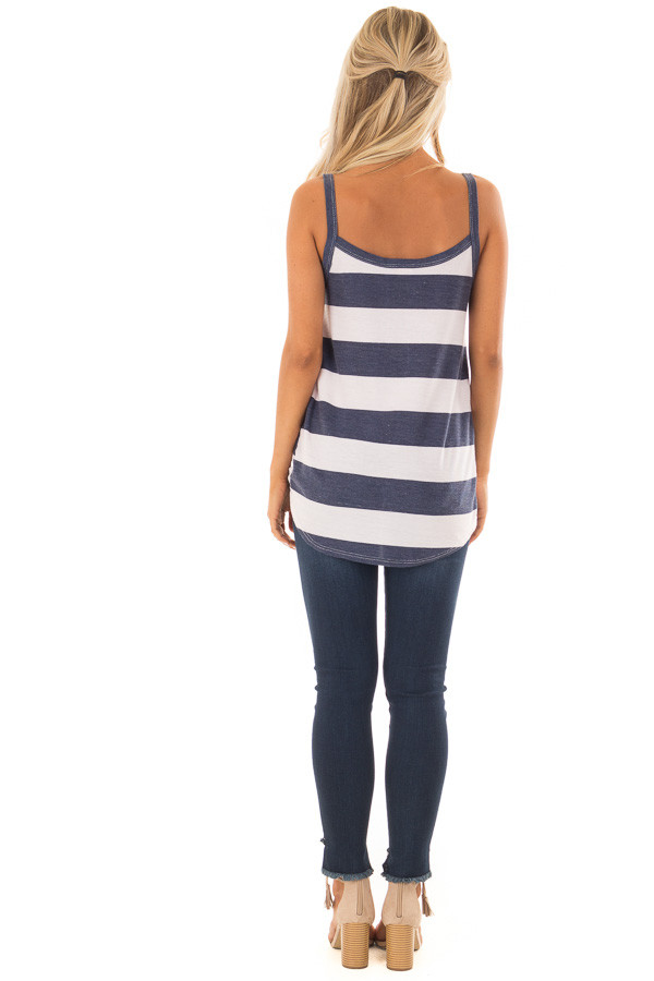 Navy and Light Blush Striped Tank Top with Front Knot Detail back full body