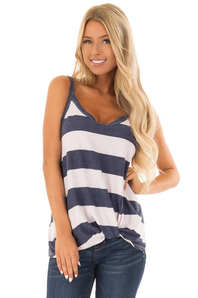 Navy and Light Blush Striped Tank Top with Front Knot Detail front close up