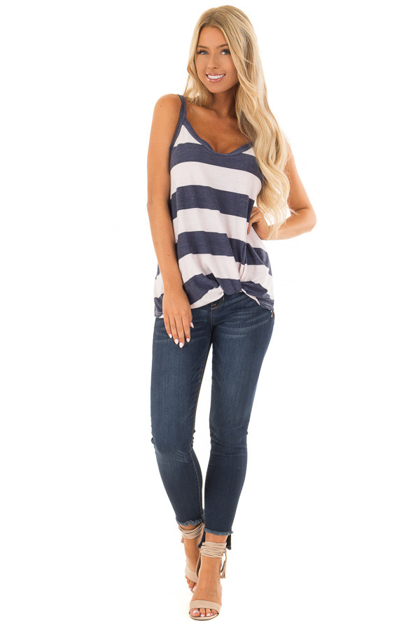 Navy and Light Blush Striped Tank Top with Front Knot Detail front full body