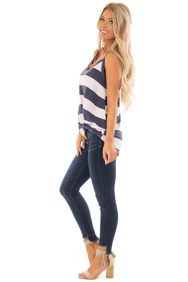 Navy and Light Blush Striped Tank Top with Front Knot Detail side full body