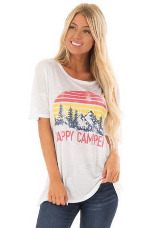 Daisy White 'Happy Camper' Loose Short Sleeve Graphic Tee front close up