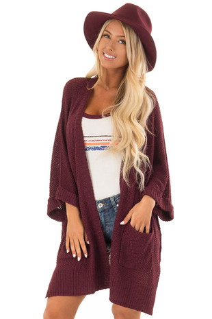 Burgundy Knit Cardigan with Pockets front close up