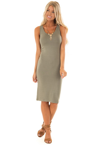 Olive Basic Bodycon Midi Dress front full body