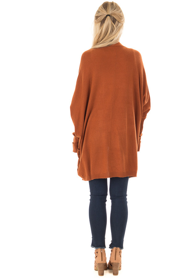 Burnt Orange Open Cardigan with Cuffed Sleeves and Pockets back full body