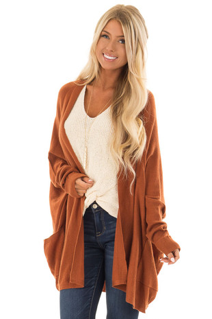 Burnt Orange Open Cardigan with Cuffed Sleeves and Pockets front close up