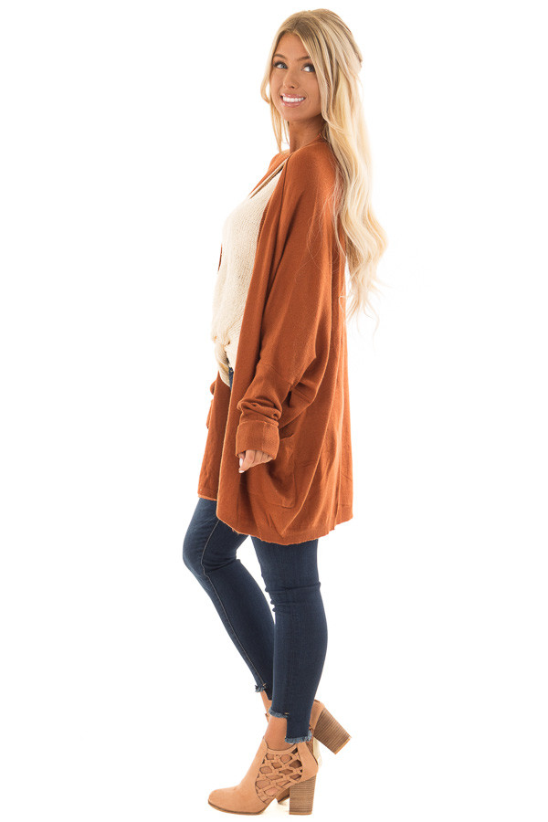 Burnt Orange Open Cardigan with Cuffed Sleeves and Pockets side full body