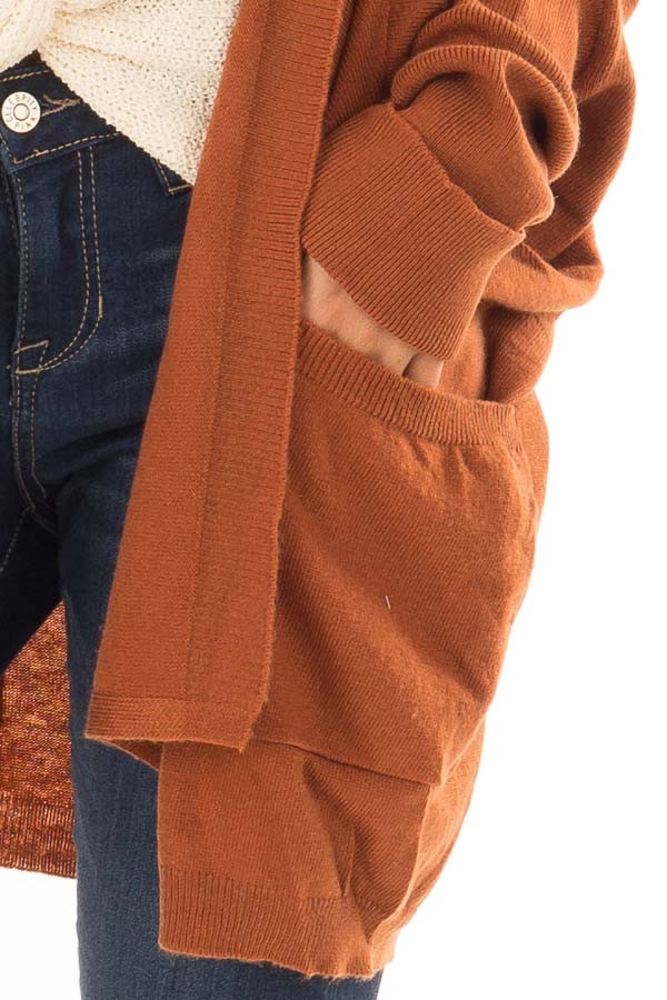 Burnt Orange Open Cardigan with Cuffed Sleeves and Pockets detail