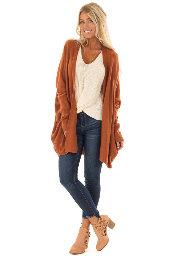 Burnt Orange Open Cardigan with Cuffed Sleeves and Pockets front full body
