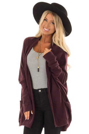 Plum Open Cardigan with Cuffed Sleeves and Pockets front close up