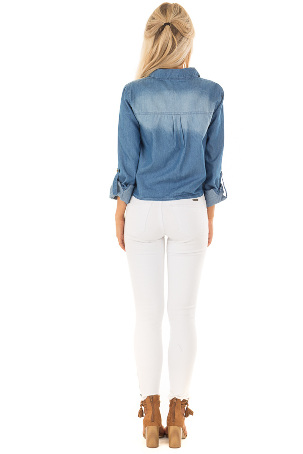 Denim Button Up Long Sleeve Top with Knot Detail back full body