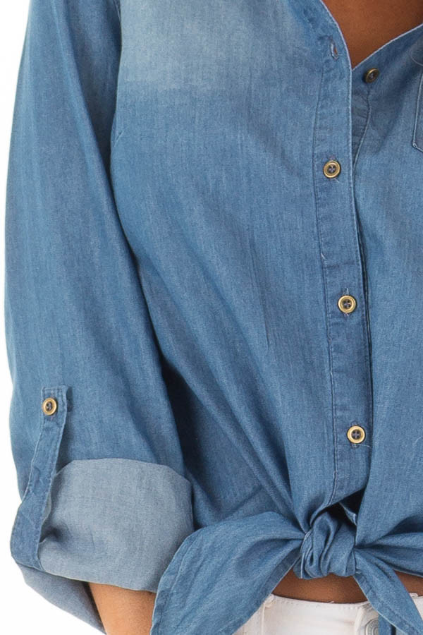 Denim Button Up Long Sleeve Top with Knot Detail detail