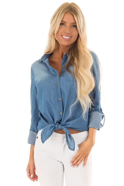 Denim Button Up Long Sleeve Top with Knot Detail front close up