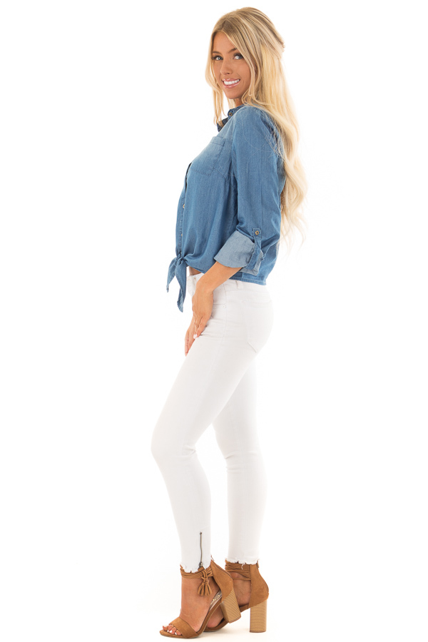 Denim Button Up Long Sleeve Top with Knot Detail side full body