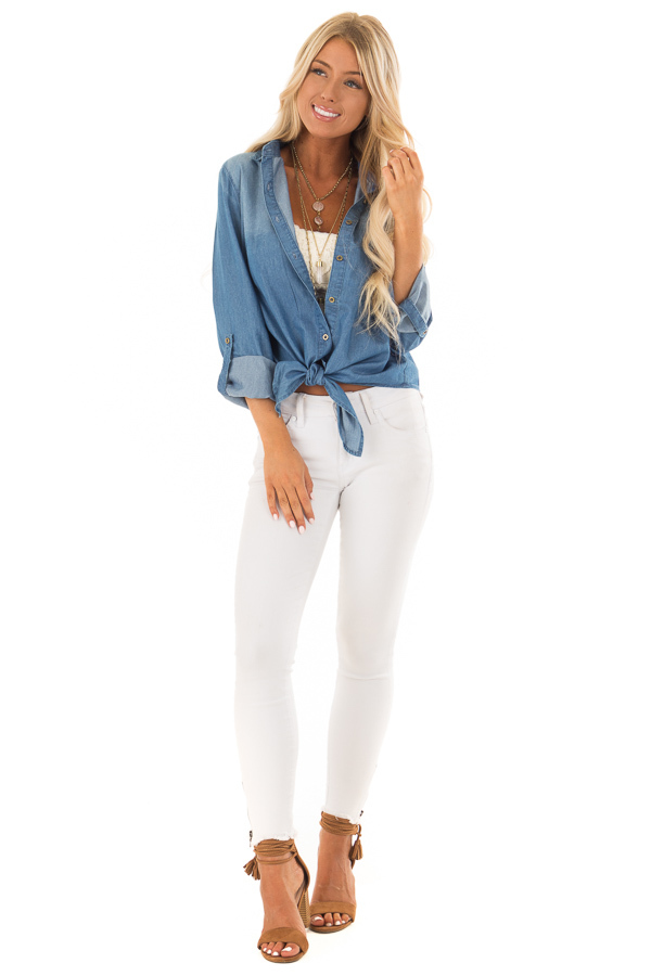 Denim Button Up Long Sleeve Top with Knot Detail front full body