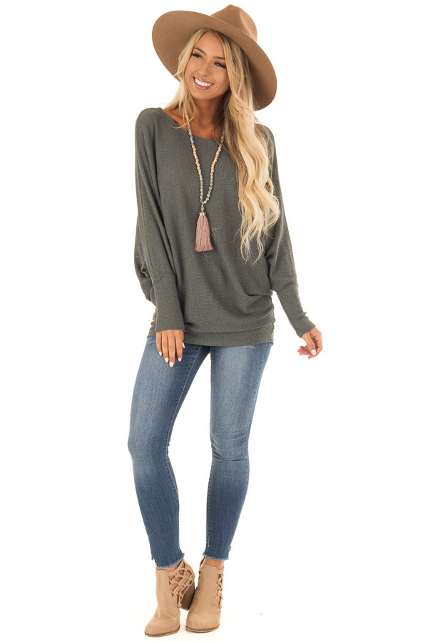 Forest Green Oversized Off the Shoulder Top front full body