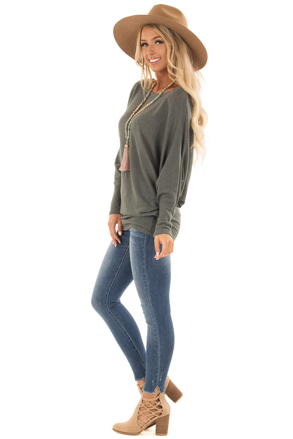 Forest Green Oversized Off the Shoulder Top side full body