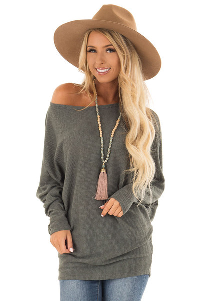 Forest Green Oversized Off the Shoulder Top front close up