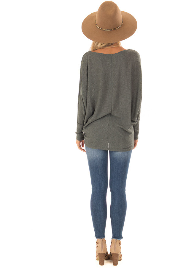 Forest Green Oversized Off the Shoulder Top back full body