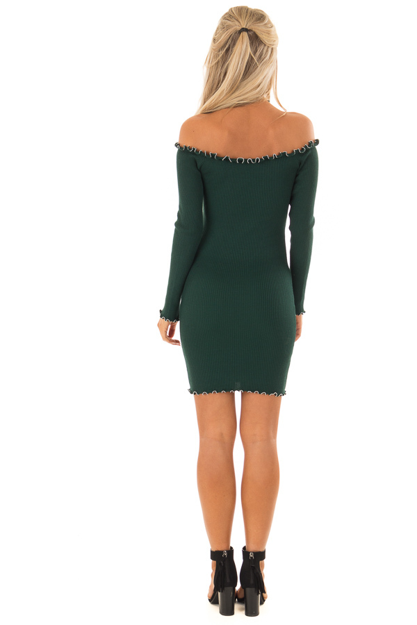 Forest Green Off the Shoulder Dress with Silver Bead Detail back full body
