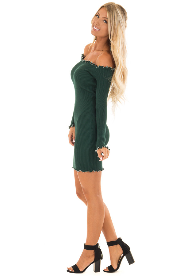 Forest Green Off the Shoulder Dress with Silver Bead Detail side full body