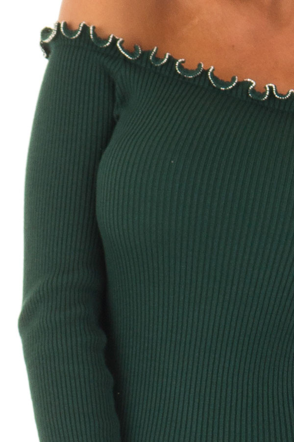 Forest Green Off the Shoulder Dress with Silver Bead Detail detail