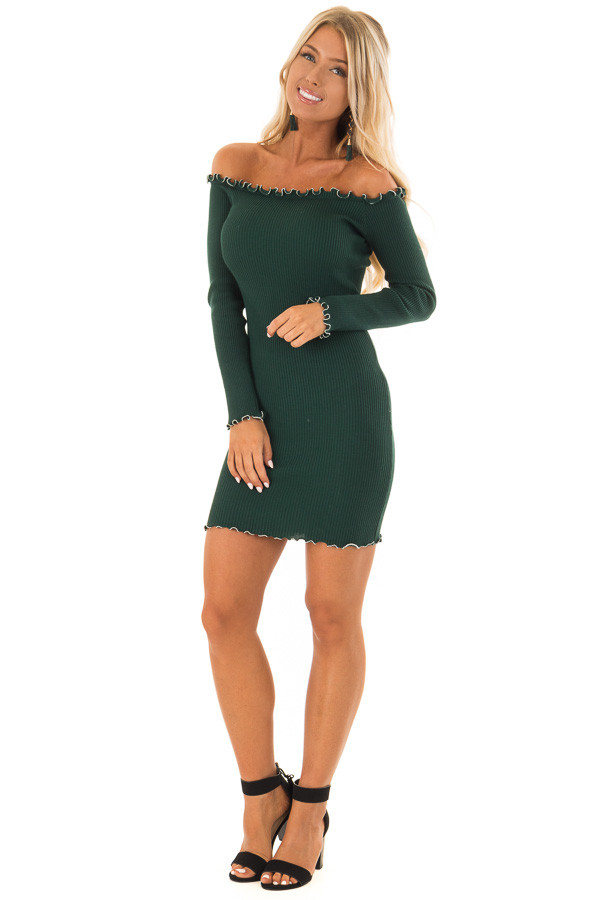 Forest Green Off the Shoulder Dress with Silver Bead Detail front full body