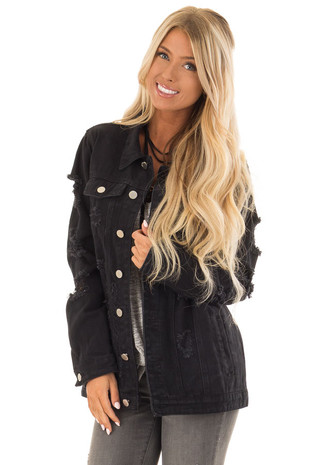 Black Washed Distressed Denim Button Up Jacket with Pockets front close up