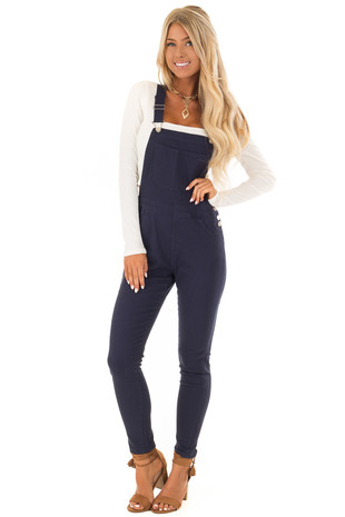 Navy Colored Denim Overalls front full body