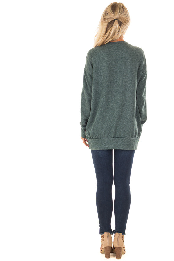 Heather Green V Neck Sweatshirt with Criss Cross Detail back full body