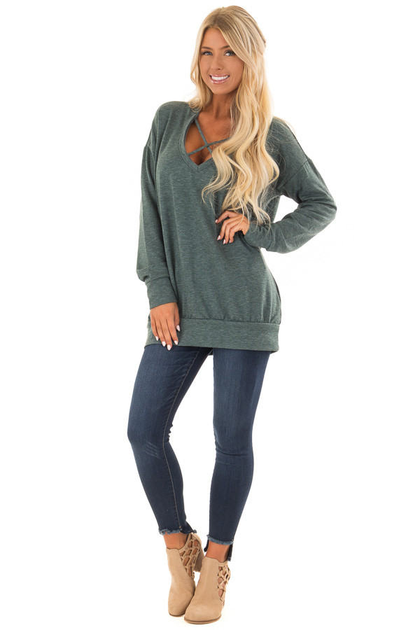 Heather Green V Neck Sweatshirt with Criss Cross Detail front full body