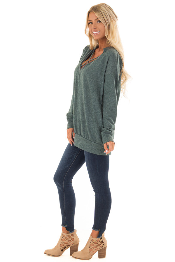 Heather Green V Neck Sweatshirt with Criss Cross Detail side full body